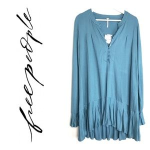 Free People blue button front tunic worn once